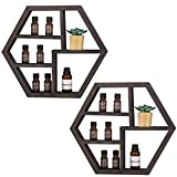Essential Oil Storage,Wall Mounted Essential Oil Rack Holder,Floating Honeycomb Wooden Display Shelves for Essential Oils,Solid Wood Storage Shelf, Nail Polish Organizer,2 Packs
