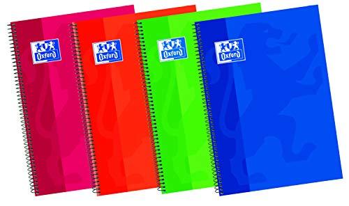 Oxford 100430151 Classic - Cuaderno espiral de tapa extradura A5, 80 Hojas, Colores surtidos, Formato 4º, Paquete de 5