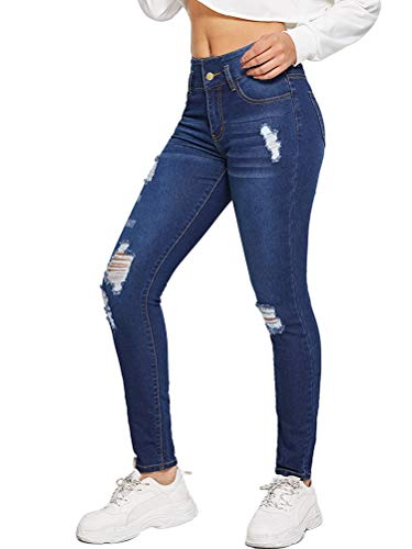 Onsoyours Damen Skinny Stretch Jeans mit Risse Destroyed Look High Waist Jeanshose Röhrenjeans Skinny Slim Fit Stretch Boyfriend Jeans Blau Small