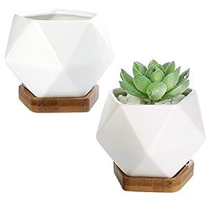 Silk Flower Arrangements Modern Geometric White Ceramic Mini Succulent Planter Pots with Removable Bamboo Saucer, Set of 2
