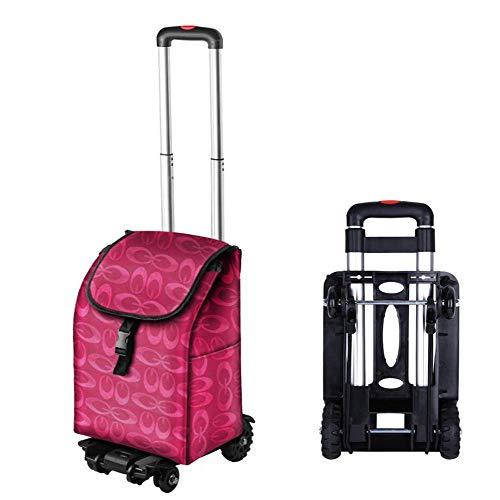 DJY-JY MBEN Carro plegable con 4 ruedas, carro de la compra plegable, carro de equipaje de aluminio, con telescópico, carrito de supermercado doméstico 50 kg de carga