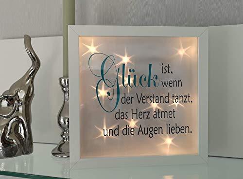 AScreativ 3D-Bilderrahmen mit Spruch Glück beleuchtet Leuchtrahmen Geschenk Homedeco modern