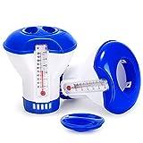 Gafild Dispenser Chimico per Piscina, 2 Pack Dosatore Galleggiante con termometro da Piscina,Dispenser Chimico,Dispenser di Cloro per Interni & Piscine all'aperto, Vasca,5 inch
