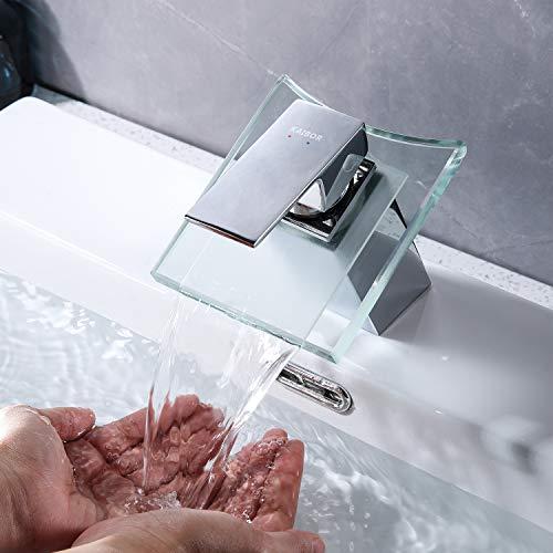 Kaibor - Rubinetto da bagno moderno a cascata, in ottone cromato e vetro trasparente, miscelatore monocomando per lavabo da bagno
