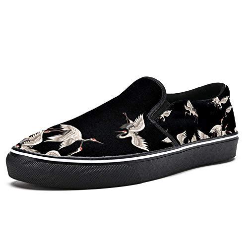 TIZORAX Flying Cranes Slipper Loafer Schuhe für Herren Jungen Fashion Canvas Flache Bootsschuhe, Mehrfarbig - mehrfarbig - Größe: 42 2/3 EU