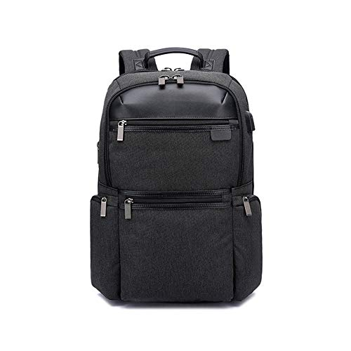 Faus Koco Business Computer Backpack Breathable Backpack Usb Multi-function Leisure Bag Wear-resistant (Color : Black)