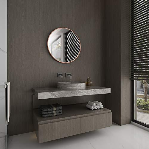 Spiegel rund Talos Noble - Spiegel kupfer mit Ø 60 cm - Wandspiegel mit hochwertigen Aluminiumrahmen in kupfer