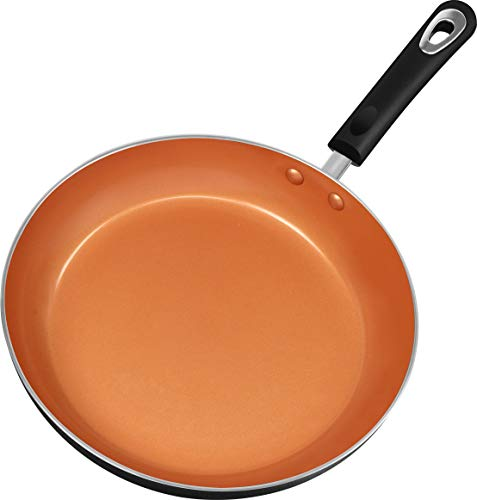 Utopia Kitchen 11 Inch Nonstick Frying Pan - Induction Bottom - Aluminum Alloy and Scratch Resistant Body - Riveted Handle - Ceramic Interior (Grey-Copper)