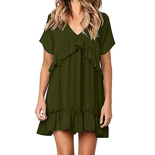 Una línea de vestido para mujer, vestido de verano plisado con cuello en V, playa, Midi Shift Vestidos Casual Sólido de manga corta