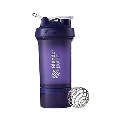 BlenderBottle ProStak System with 22-Ounce Bottle and Twist n' Lock Storage, Purple/Purple