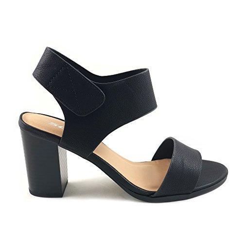 SODA Wait Black Womens Open Toe Chunky Heel Ankle Strap Shoes Block High Heel Dress Sandals