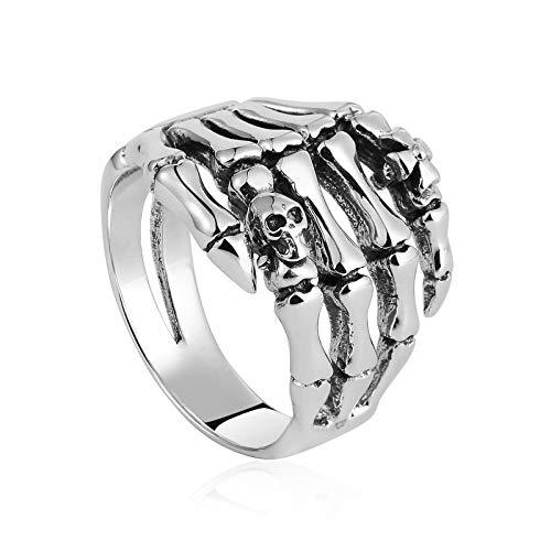 Daesar Herren 925 Sterling Silber Ring Totenkopf Skelett Hand Gothic Freundschaftsring Partnerring Classic Größe 62 (19.7)