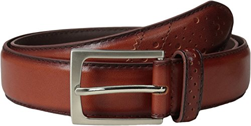 Florsheim Full Grain Leather Belt with Wing Tip Style Tail 32mm Saddle Tan 32