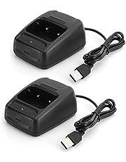 Cargador de batería con interfono Walkie Talkie USB 2 uds con indicador de Carga para Baofeng BF666S/BF777S/BF888S