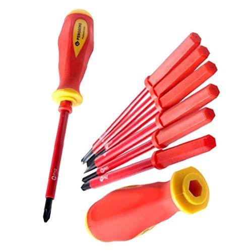 NaiCasy Destornillador eléctrico Aislado Conjunto 1000V Phillips Destornillador de precisión Electricista Repair Tool Kit 7PCS