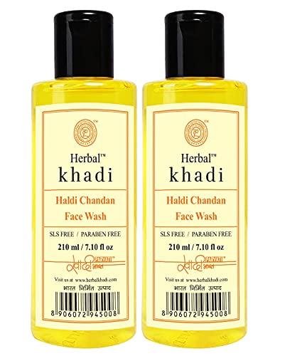 Ayurdaily Khadi Haldi Chandan (No Sulphates & Parabens) 100% Natural Glow Face Wash for Scar & Tan Remover Anti Acne Antiseptic 210ML (Pack of 2)
