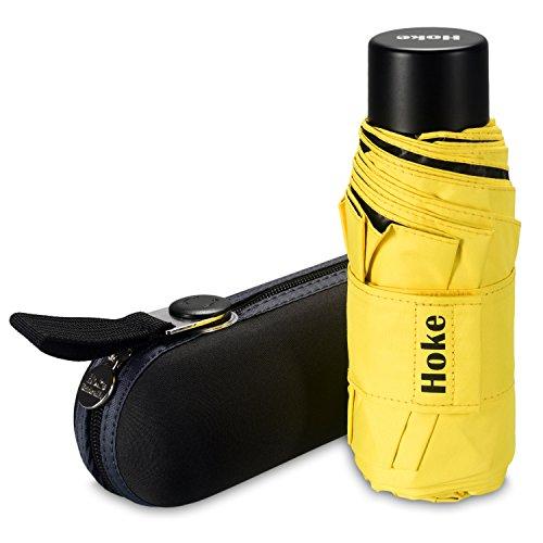 Hoke 8-Rib Mini Compact Pocket Umbrella. Windproof & Lightweight Travel Umbrella. UV Protection Parasol. (Yellow)