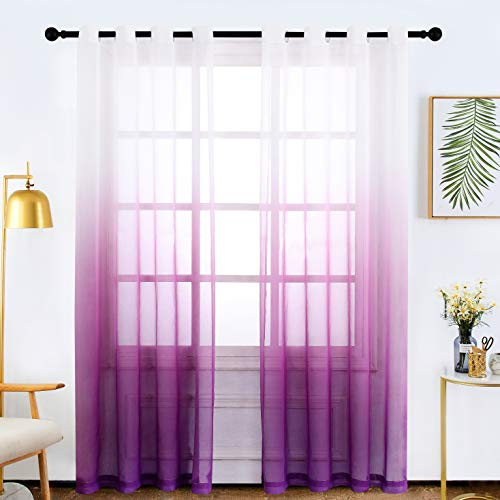 Bermino Faux Linen Sheer Curtains Voile Grommet Ombre Semi Sheer Curtains for Bedroom Living Room Set of 2 Curtain Panels 54 x 84 inch Plum Purple Gradient