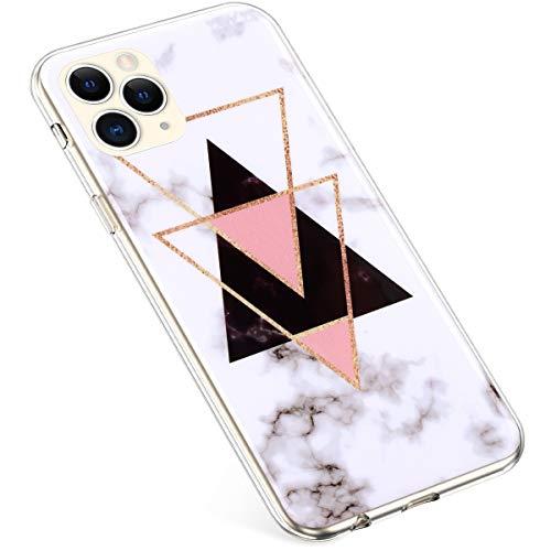 Uposao Custodia Compatibile con iPhone 11 Pro Max 6.5 Dazzling Marmo Marble Design Sottile Guscio Ultra Slim Gel Shell TPU Custodia Protettiva,Triangolo nero