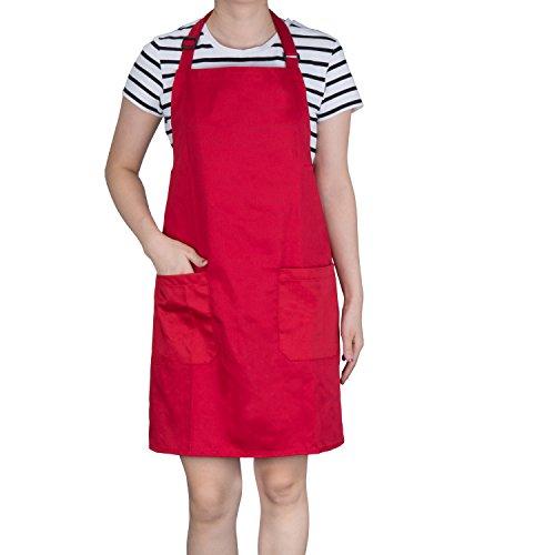 Diealles Kochschürze, Schürze Küchenschürze mit Bindeband und Verstellbare Nackenschlaufe für Frauen Männer Chef, 71 × 66 cm, Rot