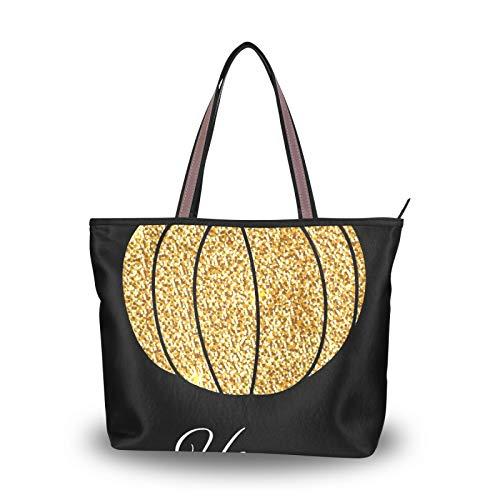 NaiiaN Correa de peso ligero para madres, mujeres, niñas, señoras, estudiantes, bolsos de hombro, purpurina dorada, monedero de calabaza, bolso de compras, bolsos de mano