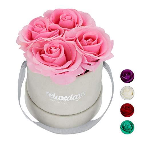 Relaxdays Rosenbox rund, 4 Rosen, stabile Flowerbox grau, 10 Jahre haltbar, Geschenkidee, dekorative Blumenbox, rosa