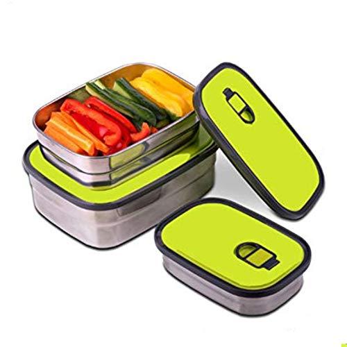Acero Inoxidable Fiambrera, Winnes 3pcs Portátil Lonchera Contenedor hermetica Recipientes para Alimentos con Tapa Reutilizable Fiambrera para Horno/Congelador/Sin BPA (Verde)