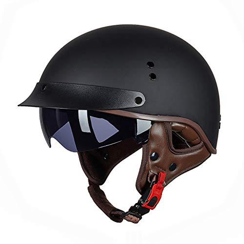 FANGJIA-Helmet Medio Casco de Motocicleta, Retro Casco Moto Hombres y Mujeres, Forro Extraíble Y Lavable, Patinete de Calle Medio Casco/homologado Dot