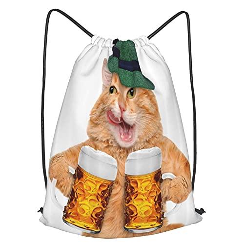 Mochilas de Cuerdas Unisex,Cool Cat con sombrero y jarras de cerveza Festival de la bebida alemana bávara,Impermeable Mochila con Cordón,adulto Niños exterior Mochilas Casual,yoga Bolsas de Gimnasia
