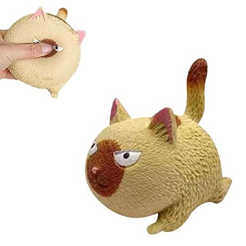 YYZHZ Dekompressionsball mit lustiger Katze zum Zusammendrücken und langsamer Rückprall, Anti-Angst, niedliches Tier-Spielzeug (gelb, 12 x 8 x 11 cm)