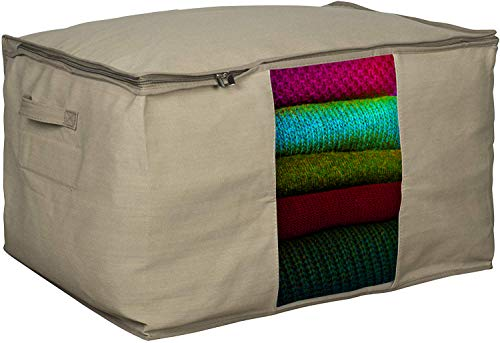 """Extra Large Moth Protection Clothing Organizer Bag – Cedar Insert to Protect from Moth, Insects, Moist etc. – Perfect for Storing Pillows, Comforter, Clothes, Bedding, Blanket, More – 24"""" x 15"""" x 18"""""""