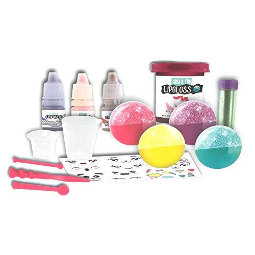 Experimentierkasten Lipgloss herstellen für Kinder Lippenstift Lippenbalsam mit Glitzer Kinder Schminke Kosmetik selber machen Lip Gloss Glitter Bastelset Spa Beauty Spielzeug Kreativ Set ab 8 Jahren