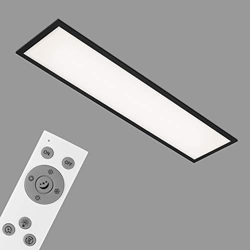 Briloner Leuchten - Deckenlampe, LED Panel dimmbar, Farbtemperatursteuerung, inkl. Fernbedienung, 24 Watt, 2.200 Lumen, Weiß-Schwarz, 1.000x250x60mm (LxBxH)
