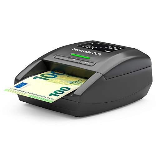 Detectalia D7X - Rilevatore di banconote false con 7 controlli di contraffazione e affidabilità al 100%. Non è necessario aggiornare per la valuta euro - 14 x 12 x 6 cm