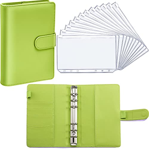 PU Leather Notebook Binder Budget Planner Binder Cover with 12 Pieces Binder Pocket Personal Cash Budget Envelopes System 6 Hole Binder Zipper Folder (Lime Green Cover with Clear Sheet,A6)