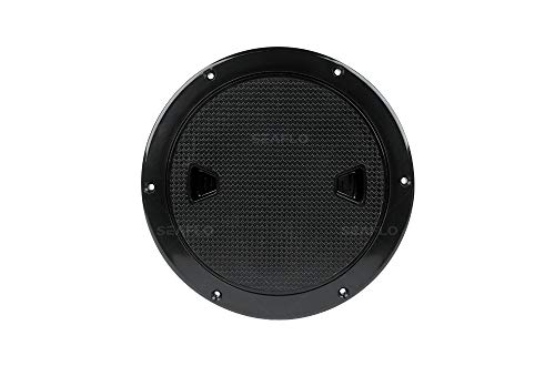 SEAFLO 4' - 8' Black Circular Non Slip Inspection Hatch w/Detachable Cover (4')