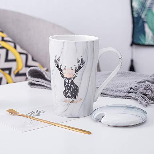 Heliansheng Taza Simple de Oficina Creativa de Pareja con Tapa Taza de cerámica para el hogar de Estudiantes de Dibujos Animados para Damas -D17-B15-G478