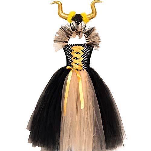 OBEEII Disfraz de Ecuernos Malefica Nias Deluxe Maleficent Christening Gown Fancy Dress Costume para Halloween Cosplay Carnaval Disfraces