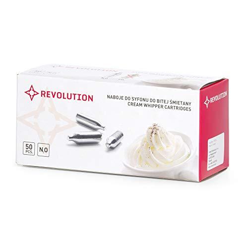 Revolution Sahnekapsel   50 STK.   Einweg- Sahnepatronen, Druckkapseln für Sahnespender   Passend für alle handelsüblichen Sahnebereiter   Ideal für Restaurants und den Hausgebrauch