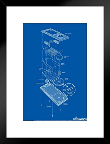 Poster Foundry ProFrames Intellivision Controller Blueprint Dark Video Gaming Retro Framed Matted in Black Wood 20x26 inch Mehrfarbig / 4621