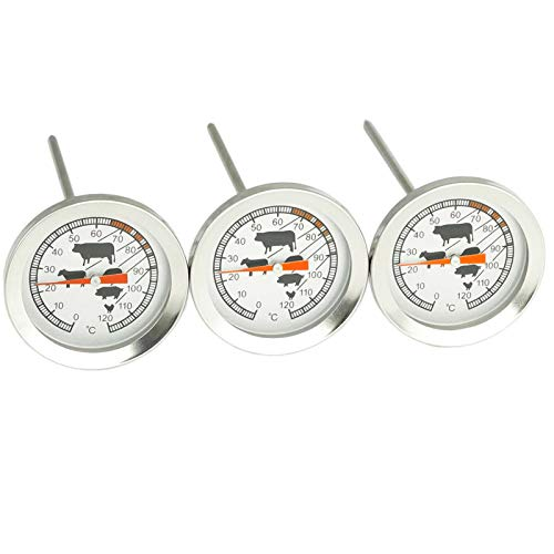 4BIG.fun 3x BBQ- Grill- Fleischthermometer mit Garpunkte-Markierungen Thermometer Analog Fleisch Fisch Steak