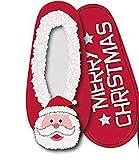 Angro Damen Soft X-Mas Ballerinas Hausschuhe rot kuschelig Indoor mit ABS Sohle Weihnachten Gr. 37-39