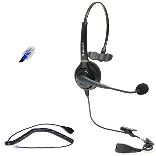 Mitel Phone Headset | Noise Canceling Headset for All Mitel Phones Compatible | Professional Call Center Headset for Office | RJ9 Headset Quick Disconnect Included | Flexible & Rotatable Microphone