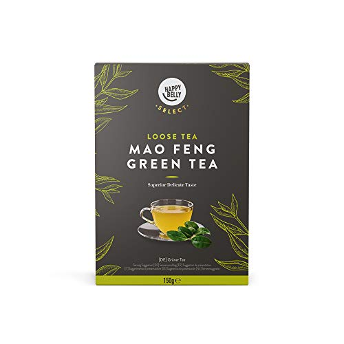 Amazon Brand - Happy Belly Select Green Tea Leaves Mao Feng 2x150 gr - Tea Leaves/Loose