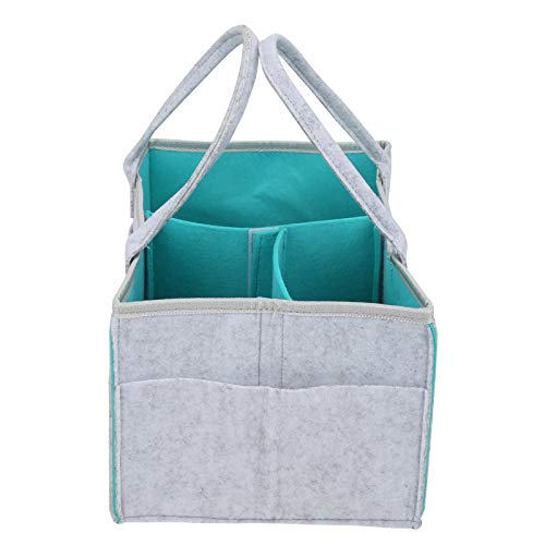 Nappy Storage Bag, Baby Diaper Holder, Mommy Handbag, Environmentally Friendly Materials Practical Good Workmanship Baby Changing Bag, for Any Room(Light Gray+Green)