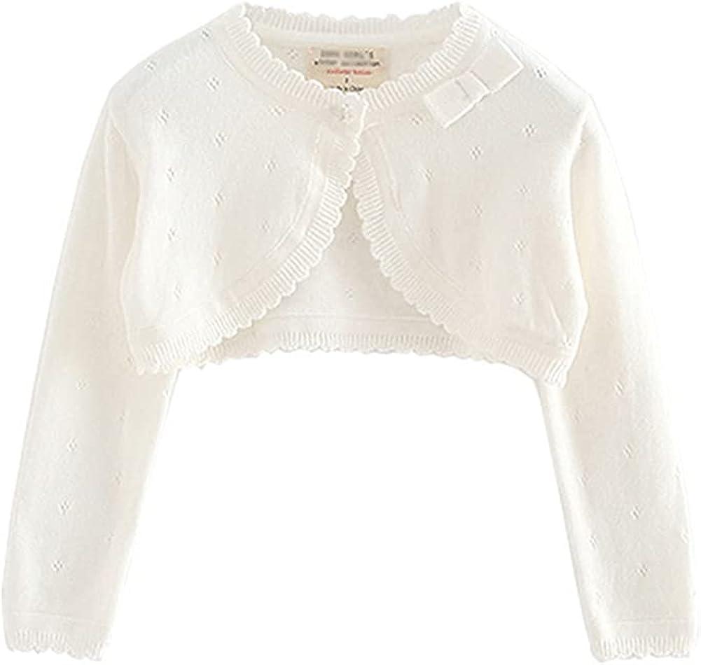 LittleSpring Little Girls Bolero Shrug Cropped Cardigan Sweater with Bowknot Hollow
