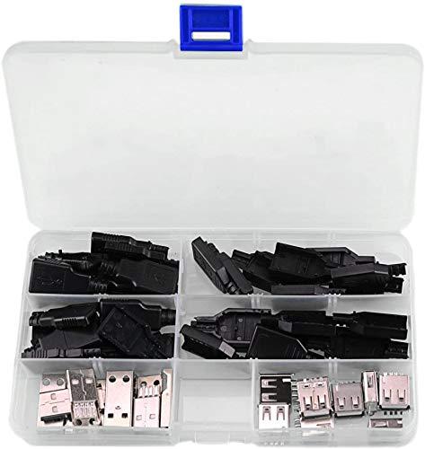 RUNCCI-YUN 20pcs Conector USB Macho 2.0 Tipo A 4 Pin, USB 2.0 Conector De Soldadura, Conector USB Hembra 2.0 Tipo A 4 Pin , para DIY