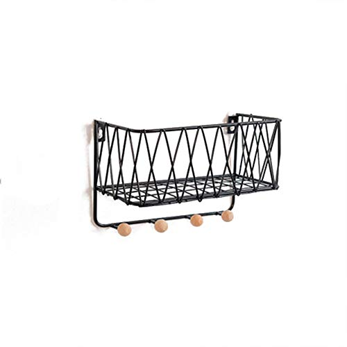 Wall Mounted Shelf, Black Iron Art Display Rack en Magazine Organizer, S + L Combinatie Kapstokken Met Haken 410