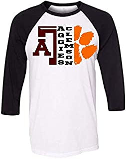 Handmade Football Shirt House Divided Clemson University Texas A and M Aggies Half A and M Half Tiger paw