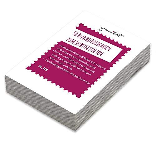 Blanko Postkarten in 400g/qm zum Selbstgestalten I DIN A6 I 50er Set DIY Grußkarten weiß I starker dicker Karton zum beschreiben bemalen I dv_728